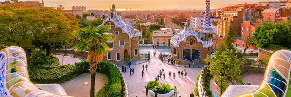 Barcelona Spain view at sunset